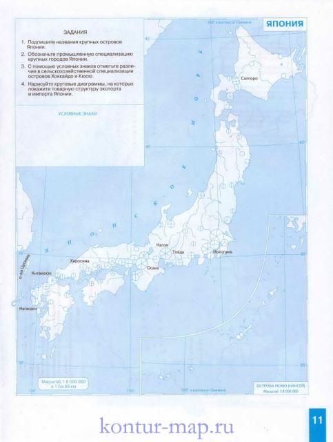 Карта японии контурная карта японии
