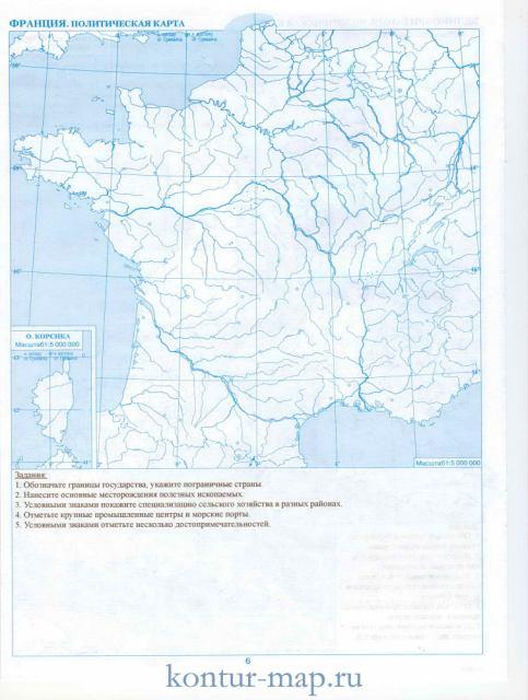 Контурная карта франции политическая