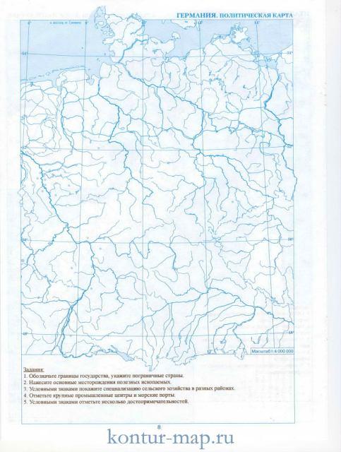 Контурная карта германии контурная