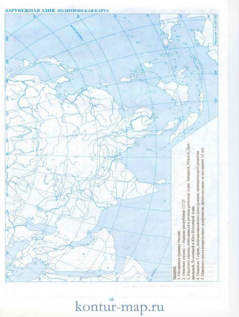 Контурная карта зарубежной азии