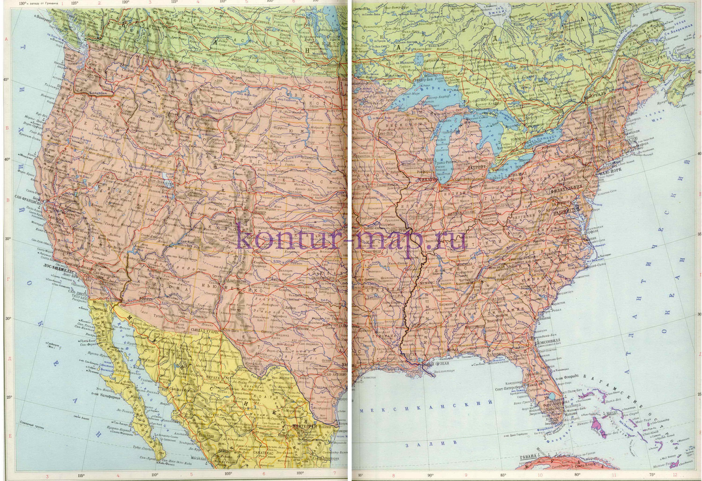 Карта сша соединенных штатов америки