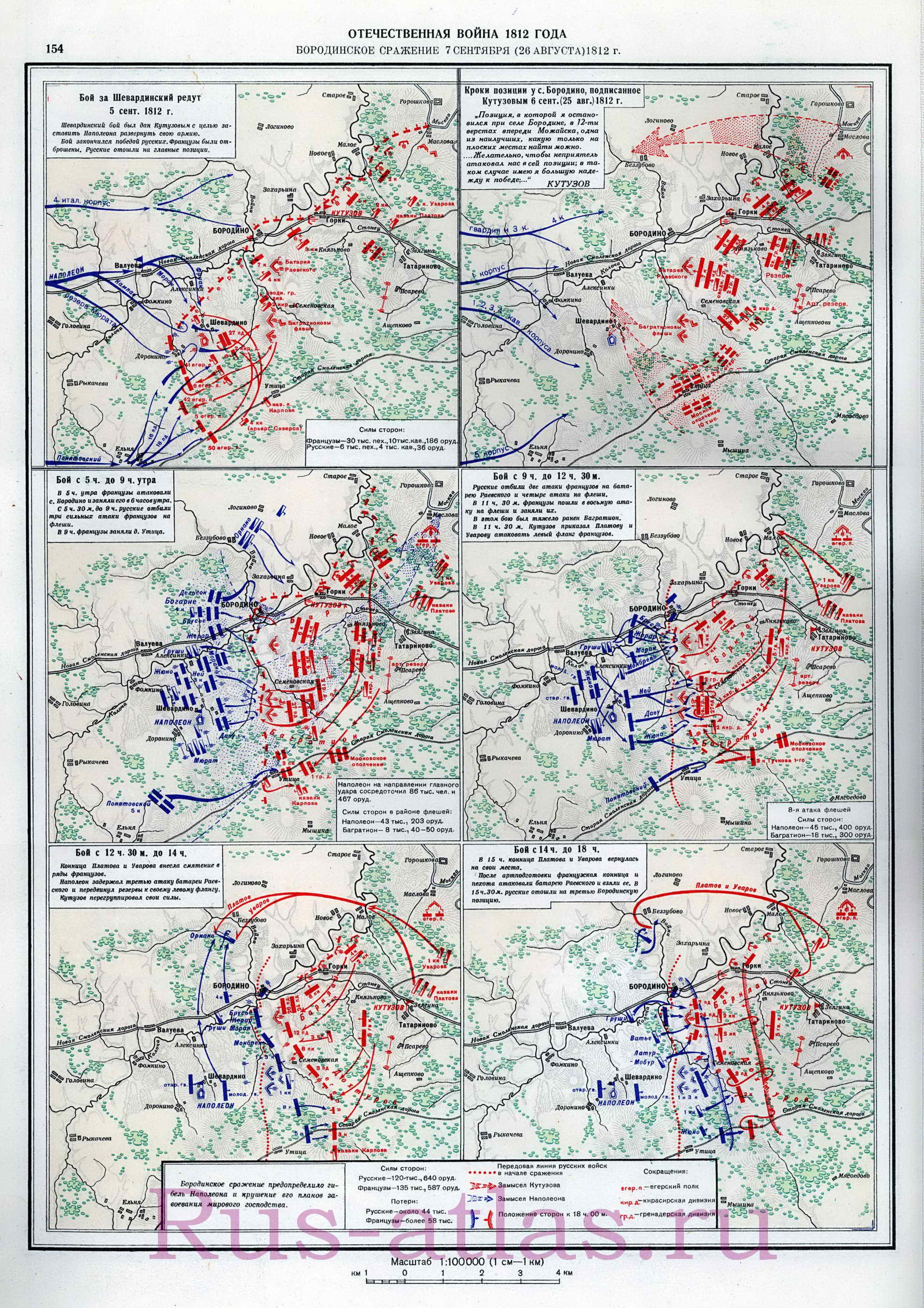 Подробнейшая карта Бородинского сражения 1812 год.  Схема сражения при Бородино 26 августа 1812 года...